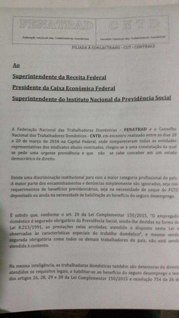 Fenatrad protocola Moção de Solidariedade ao Governo Dilma