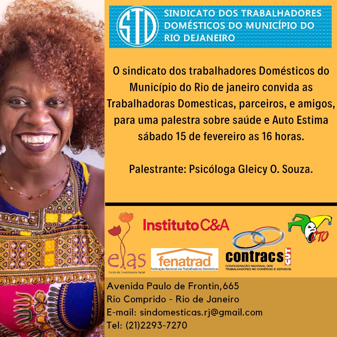 Sindicato dos Domésticos do Município do Rio de Janeiro realiza evento sobre Saúde e Autoestima